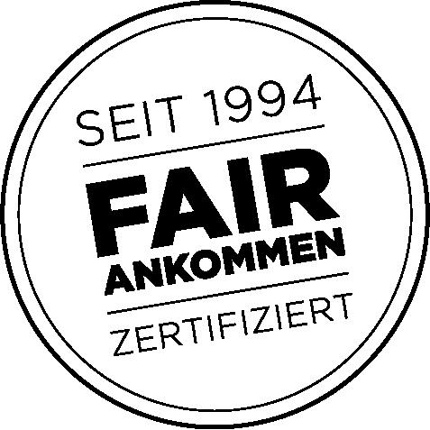 Nachhaltigkeit: Logo FAIR ANKOMMEN PRIORI