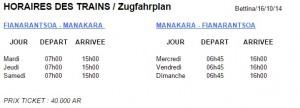 Zug Madagaskar Fahrplan