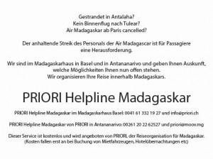 Air Madagascar Streik Helpline PRIORI Reisen Madagaskarhaus Basel
