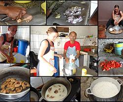 Reise-Aktivitäten: Kochkurs_Zubereitung-Poulet a coco.Collage