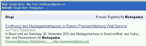 Google Alert Madagaskarhaus 20.Oktober2010