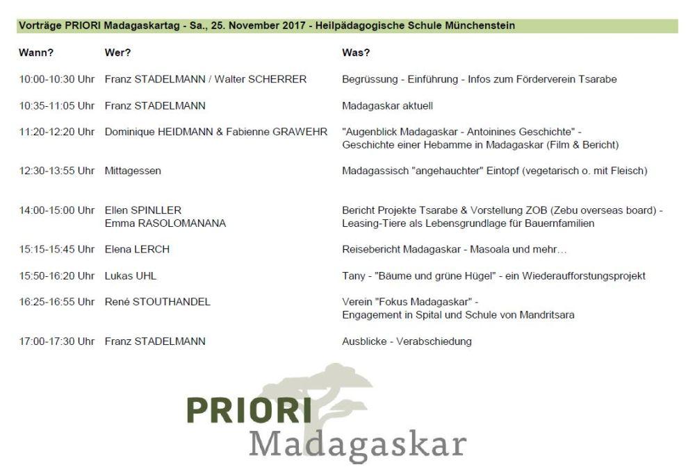 PRIORI Madagaskartag 2017 - Tagesprogramm und Vortragsthemen