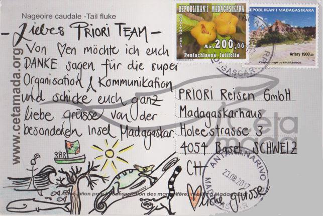 Postkarte aus Madagaskar an PRIORI