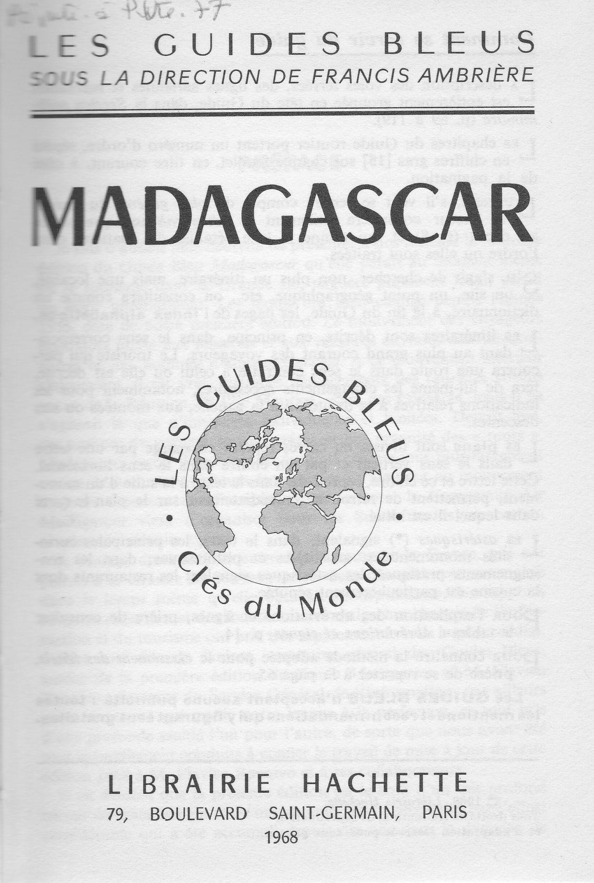 Les Guides Bleus Madagascar 1968, 001