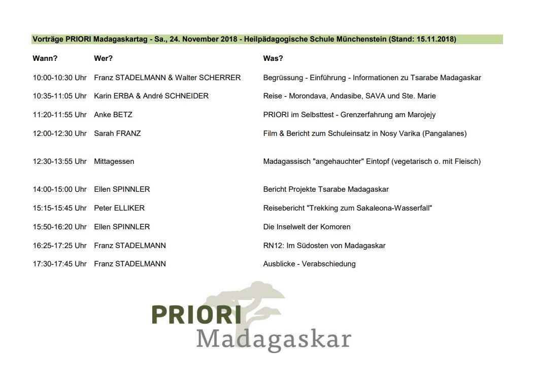 PRIORI Madagaskartag 2018 - Vorträge und Agenda