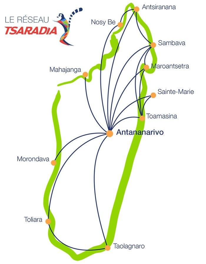 Sondergepäck bei Binnenflügen in Madagaskar: Flugplan Air Tsaradia