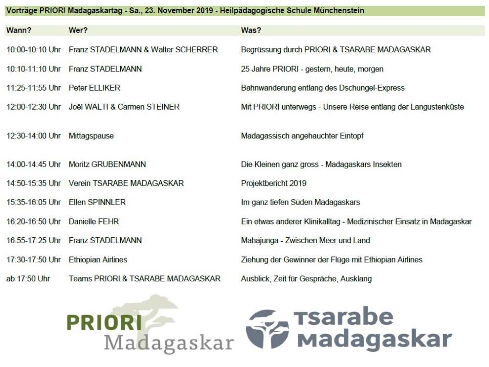 Vorträge PRIORI-Madagaskartag 2019