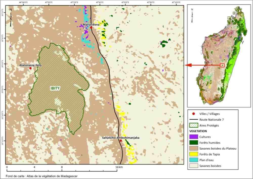 Karte zum geschützen Landschaft um das Ibity Massif