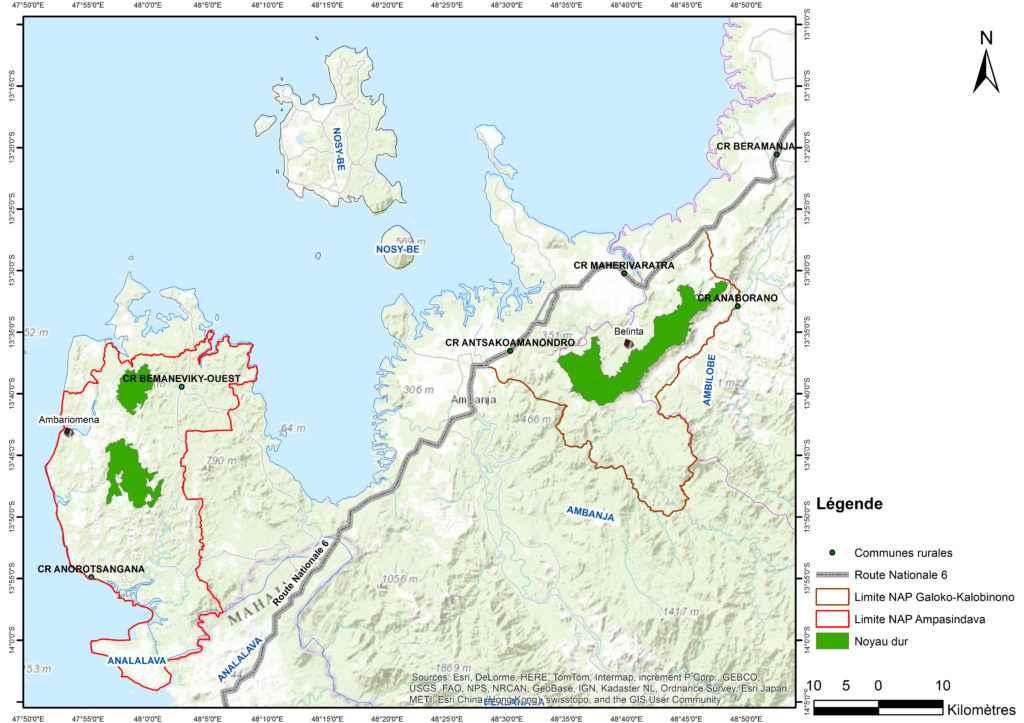 Karte zu den Schutzgebieten Galoko-Kalobinono und Ampasindava