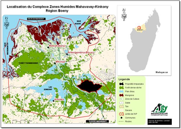 Karte zum Schutzgebiet Mahavavy Kinkony