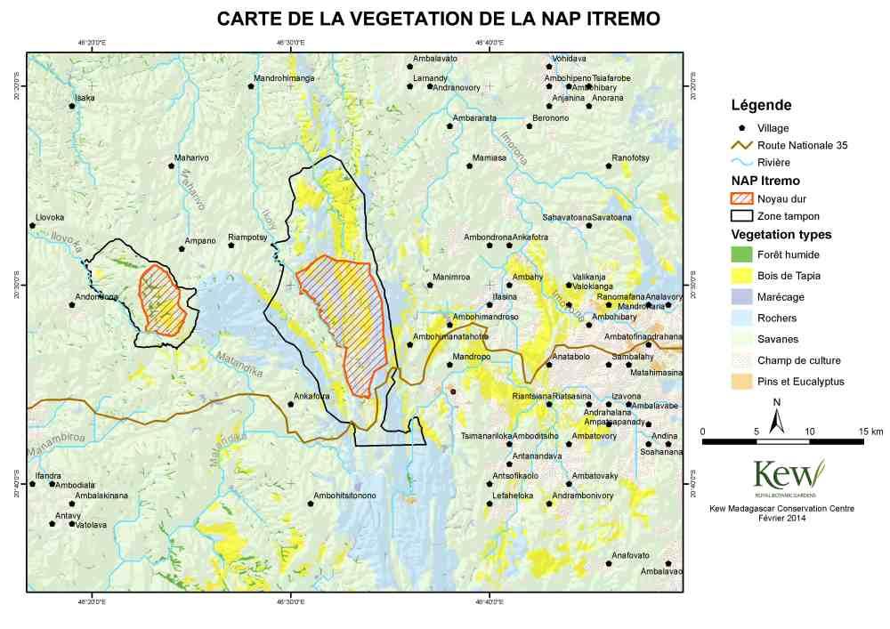 """Karte zum Schutzgebiet """"Harmonische Landschaft"""" Itremo-Massiv"""
