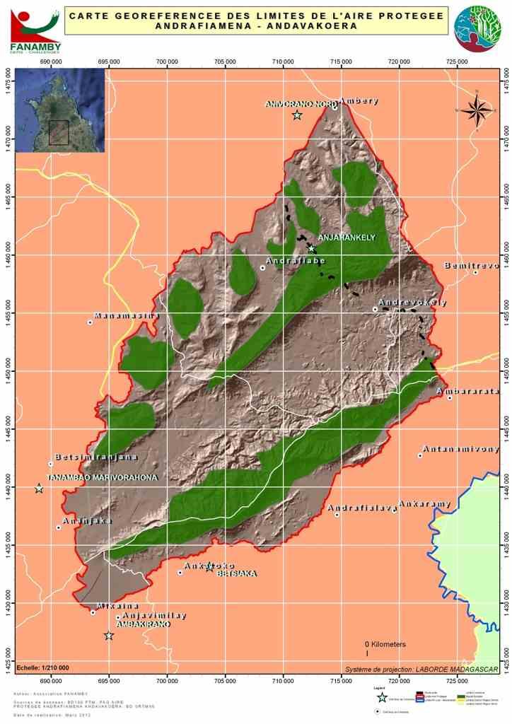 Karte zum Schutzgebiet Andrafiamena Andavakoera in Madagaskar von der Association Fanamby