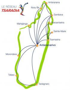 Inlandsflüge Madagaskar: Streckennetz Binnenflüge Tsaradia