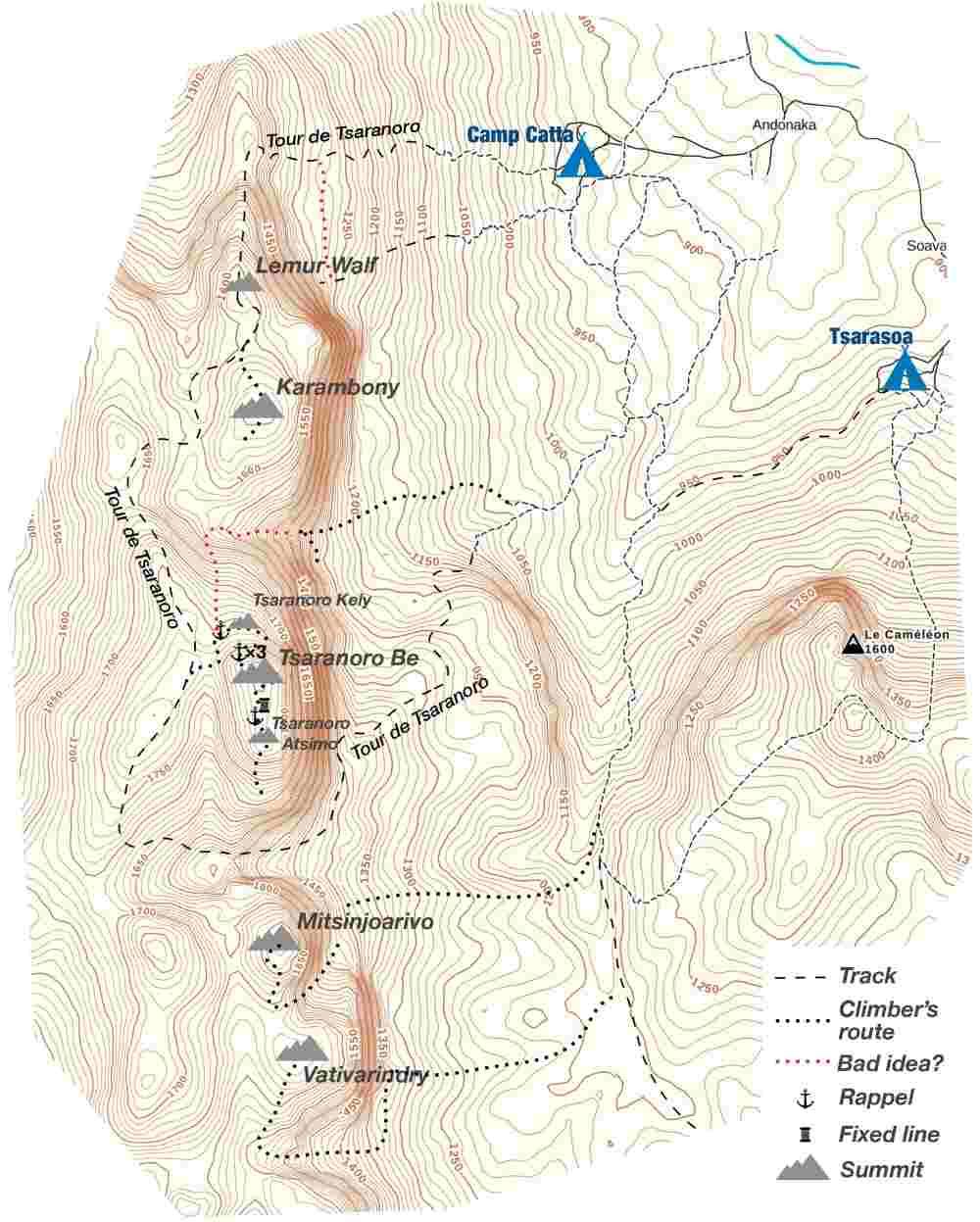 Tsaranoro Massiv Karte