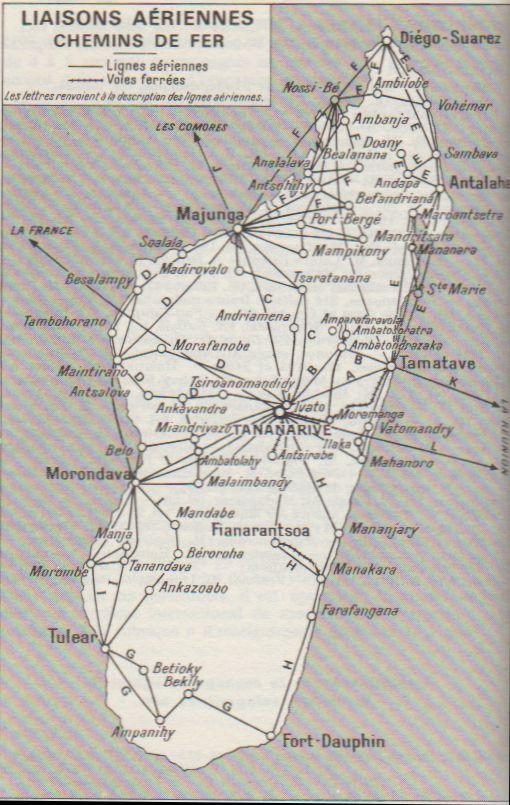 Flugverbindungen Madagaskar 1968